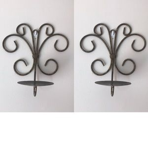 Set of two decorative metal candle wall sconces